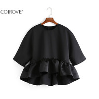 COLROVE Korean Style 2016 Girls Cute Tops Female Casual Black Crew Neck Three Quarter Length Sleeve Womend Ruffle Dip Hem Blouse