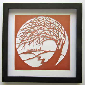 Tree Of Life Silhouette PAPER CUT Wall Art and Home Décor in Copper ORiGiNAL Design SIGNED Symbolic Art Handmade Framed One Of A Kind