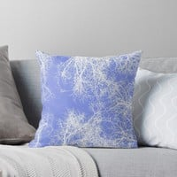 'White silhouetted trees on blue' Throw Pillow by steveball