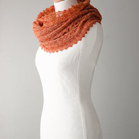 Silk knitted cowl, silk möbius scarf, wool cowl, snood, knitted wrap, orange colour hand dyed yarn 'Tuck'