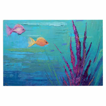 "Carol Schiff ""Key Largo Coral Reef"" Teal Purple Painting Decorative Door Mat"