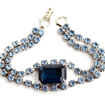 Vintage Blue Rhinestone Bracelet -  1950s Silver Tone Signed Kramer Costume Jewelry / Sapphire & Baby Blues