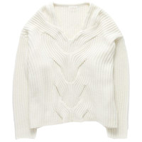 Stylish Solid Ribbed Long Sleeve Pullover Sweater