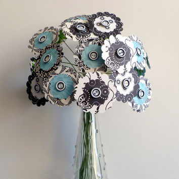 """Paper Flower Bouquet - Black White and Teal 24 stems 12"""""""