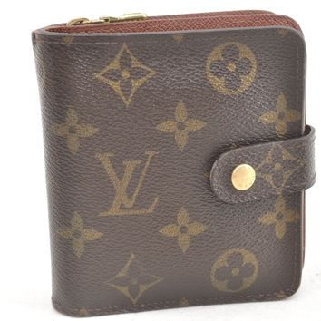 Authentic Louis Vuitton Monogram Compact Zip Bifold Wallet M61667 LV 51969