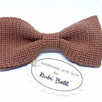 Bow Tie - crocheted bow tie - brown bow tie - grooms bow tie - bow ties for men - brown crocheted tie