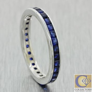 Antique Vtg Estate 14k White Gold 1.00ct Sapphire 2mm Eternity Wedding Band Ring