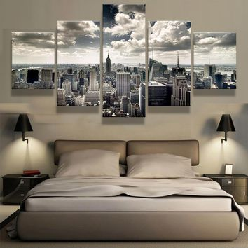 (Framed)5 Pieces New York City Building Wall Art Picture Home Decoration Living Room Canvas Print Wall Picture Printing On Canva