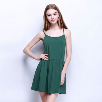 Spaghetti Strap Dress Summer Sleepwear One Piece Dress [4918267012]