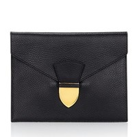 Black Spear Tab Envelope Clutch | Sophie Hulme | Avenue32