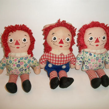 vintage Raggedy Ann and Andy dolls 6-1/4""