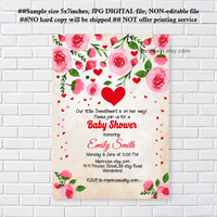 sweetheart invitaiton, Valentine invitation, sweetheart red baby shower, it's a girl , love hearts,  any party, feburary party  - card 1250