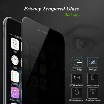 Privacy Tempered Glass Screen Protector 9H 2.5D Full Coverage Anti-spy Protective Film For iPhone 6 6S 7 Plus iPhone6 iPhone7 +Box
