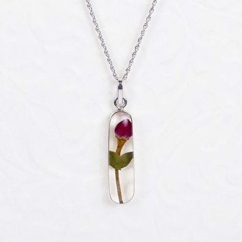 Sterling Silver Single Red Rose Dried Flower Necklace