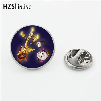 Trendy Cute Cartoon Beauty and The Beast Collar Pin Brooch Handmade Glass Dome Photo Brooch Pin Shirt Stainless Steel Lapel Pins