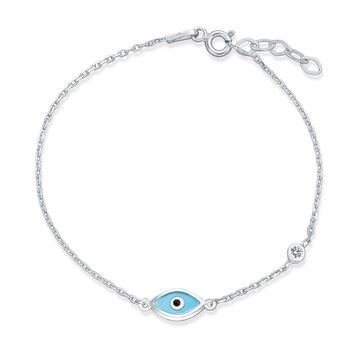 Turkish Light Blue Evil Eye Charm Chain Link Bracelet Sterling Silver