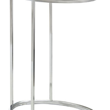 ACCENT TABLE - OVAL CAPPUCCINO WITH CHROME METAL