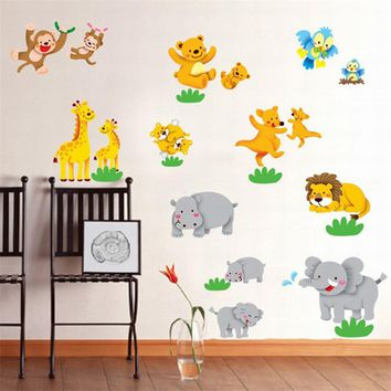 animals Playing wall stickers for living room wall decal kids vinyl wallpaper mural baby girl boy room nursery decor 50X70CM Hot
