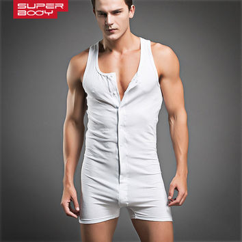 New Fashion Design Mens Underwear Sexy White Gray Cotton Undershirt Boys Training Muscle Tight Bodysuit Flexible Sports Singlet