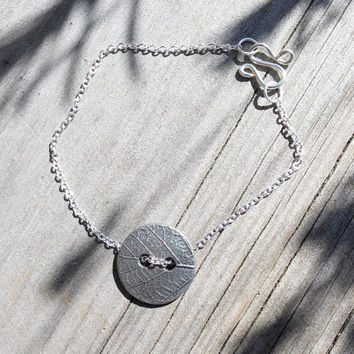 Leaf Button Bracelet, Nature Jewellery, Dainty Chain Bracelet, Thin Silver Bracelet, Unique Bracelet, Girl's Bracelets, Silver Plated