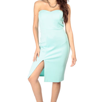 Mint Front Slit Strapless Midi Dress