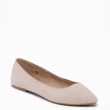 Sueded Pointy Ballet Flats for Women|old-navy