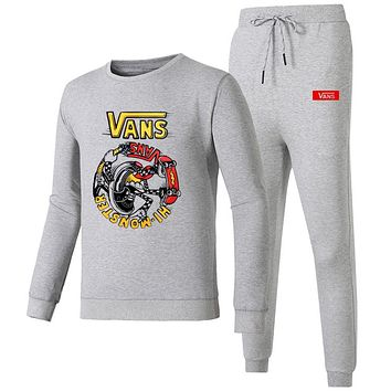 VANS 2018 autumn and winter new embroidery round neck sports pants casual sportswear two-piece grey