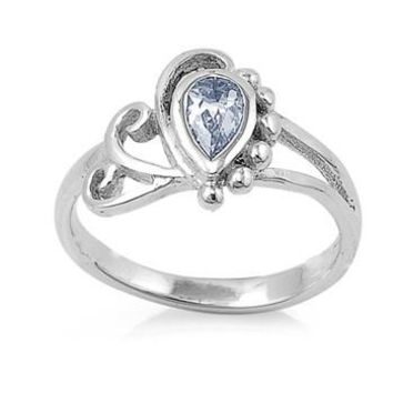 Sterling Silver Filigree Teardrop 10MM CZ Petite Ring