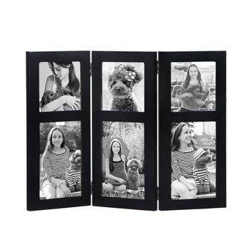 "Adeco Black Wood Hinged Folding Table Desk Top Picture Photo Frame Collage, 6 Openings, 4x6"", 4x4"""