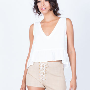 Tied in Linen Shorts