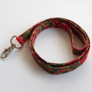 Christmas Lanyard / Poinsettia / Christmas Keychain / Red & Green / Holiday / Key Lanyard / ID Badge Holder / Gift Ideas / Stocking Stuffers