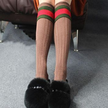 MDIGJ1A Autumn and winter tube socks College lettering cotton knit cotton socks