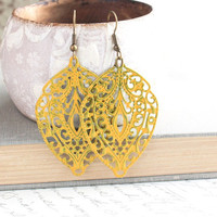 Yellow Earrings Patina Dangle Spring Jewelry, Large Filigree Golden Yellow, Fall leaves, Long Earrings, Gypsy, Bohemian