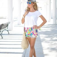 Floral Pom Pom Shorts | SPREDFASHION
