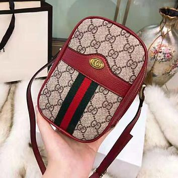 Gucci Newest Fashionable Women Shopping Bag Leather Shoulder Bag Crossbody Satchel Red