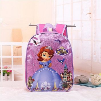 New kids cartoon Elsa Anna schoolbag girls princess cute school bag sofia Kindergarten backpacks in stock
