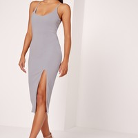 Missguided - Strappy Scoop Neck Midi Dress Grey