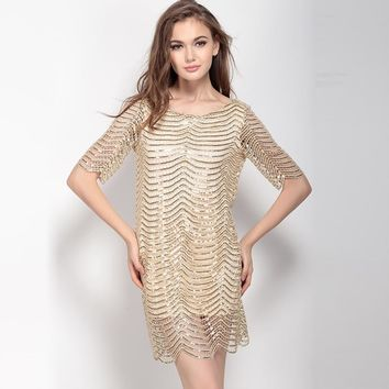 Fashion party sexy Sequined striped half sleeve  backless woman's Casual dress