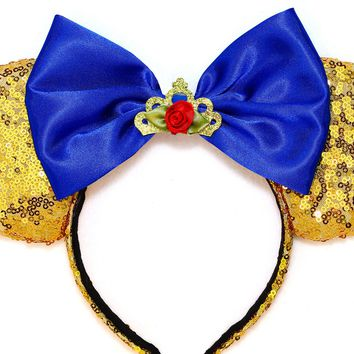 Enchanting Belle Ears - Gold Sequins and Royal Blue Bow