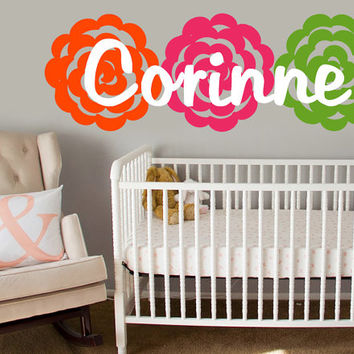 Name Wall Decal w/ Flowers | Rose Wall Sticker w/ Name