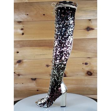 C & C Sequin Open Toe Lace Up High Heel Thigh High Boots Gold Rose Brown