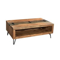 Modern Industrial Wooden Acacia Driftwood Live Edge Coffee Table with Hairpin Legs