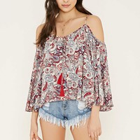 Paisley Print Open-Shoulder Top