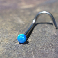 18g or 20g Turquoise Blue Fire Opal Nose Ring Corkscrew