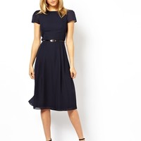 ASOS Simple Midi Skater Dress With Belt