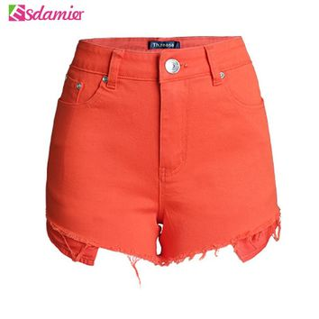 Womens Sexy Super Short Shorts Summer Hot Shorts Vintage High Waist Shorts Women Pantalon Femme Casual Candy Color Denim Shorts