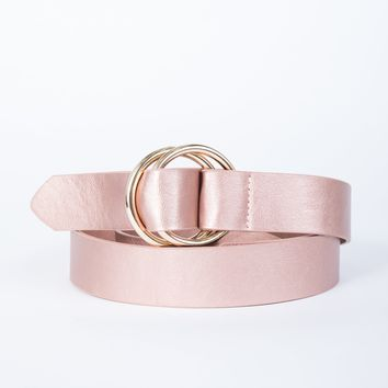 Plus Size Looped Together Belt in Rose Gold