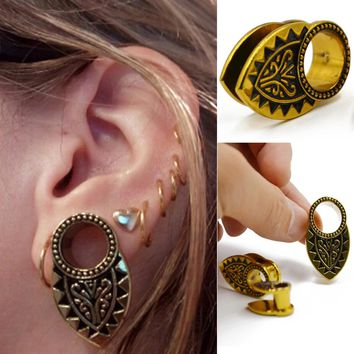 1Piece New Desgin Tribal Gold Den Ear Weight  Ear Plug Tunnel Ear Expander Gauge Piercing Ear Stretcher Body Piercing Jewelry