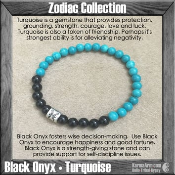 Zodiac Collection: Black Onyx | Turquoise | Yoga Chakra Bracelet