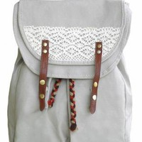 Handmade Crochet Canvas Backpack